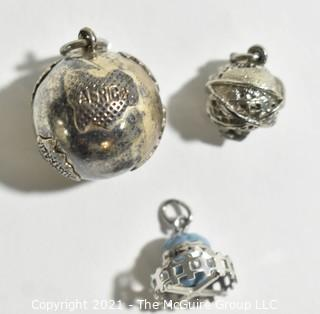 Three (3) Vintage Sterling Silver Globe Charms or Pendants. 15g total weight