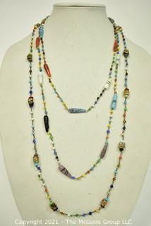 Two (2) Vintage Hand Blown Beaded Necklaces on Chain.  One is Missing Clasp.