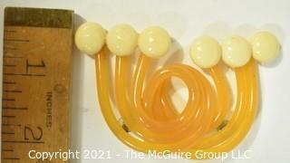 Vintage Applesauce Bakelite Abstract Modernist Shaped Brooch.