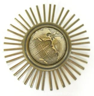 Jan Michaels San Francisco Gold Tone Globe with Sunburst Brooch or Pin.