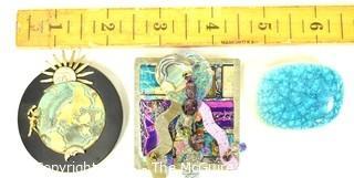 Three (3) Artisan Made Brooches or Pins