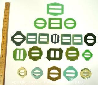 Group of Vintage Bakelite Buckles in Green and Blue Tones.