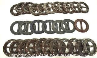 Group of Vintage Bakelite & Cellloid  Buckles in Black and Brown.