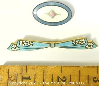 Two (2) Enamel Brooches or Pins, One Sterling.