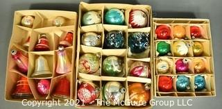 Three (3) Boxes of Vintage Hand Painted Mercury Glass Ornaments with Indents.