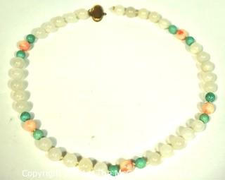 """Pink Quartz & Green Stone Necklace with Gold Flilled Clasp, Unattached. Measures 20"""" long."""
