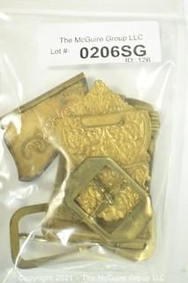 Six (6) Ornate Victorian Brass Buckles and Clasps.