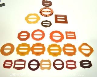 Group of Bakelite Buckles in Reds & Butterscotch.