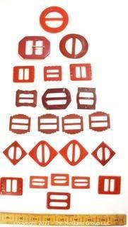 Group of Bakelite Buckles in Reds
