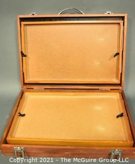 Expandable Wood Suitcase Style Artist Pastel Box with Handle