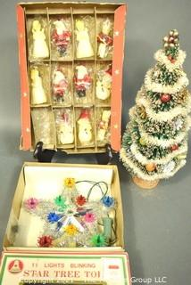 Group of Vintage Christmas Items Including Bottle Brush Tree, Tinsel Tree Topper and NIB Wax Tavern Candle Ornaments