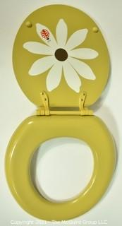 """Mid Century Sears Enamel Painted Toilet Seat """"Gold Bug"""" New in Box."""