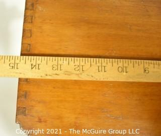 "Three Drawer Mid Century Modern Art Deco Style Wood Silver Flatware Chest 12""x 13"" x 15""."