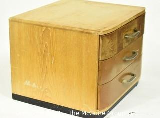 "Three Drawer Mid Century Modern Art Deco Style Wood Silver Flatware Chest 11""x 13"" x 15""."
