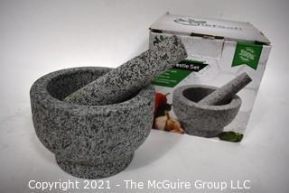 Unpolished Heavy Granite ChefSofi Mortar and Pestle Set  New in Box