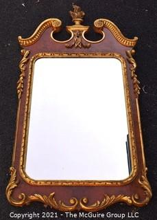 """Antique Federal Style Burl Wood Veneer and Gilt Mirror Made in Italy.  Measures 28""""W x 54""""T"""