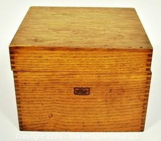 """Vintage Weis Wooden File Box with Hand Written Recipe Cards. Measures 7"""" x 8"""" x 9""""."""