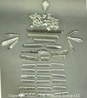 Group of Lead Crystal Etched Chandelier and Lamp Prisms.