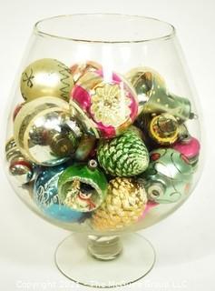 Large Glass Snifter Full of  Vintage Hand Painted Mercury Glass Ornaments, Some with Indents.