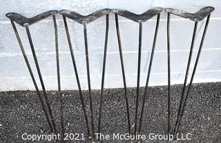 """Set of  Four (4) Mid Century Modern Iron Hairpin Table Legs.  Measures 28"""" tall."""