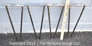 "Set of  Four (4) Mid Century Modern Iron Hairpin Table Legs.  Measure 16"" tall."