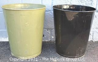 Two (2) Vintage Industrial Metal Trash Cans.
