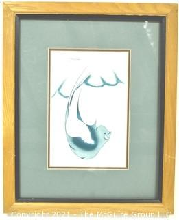 """Framed Under Glass Lithograph Print """"Eternal Conflict"""" Signed by Artist Garnet Tobacco. Measures 13"""" x 16""""."""
