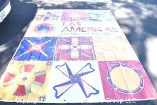 "Large Vinyl Banner From Las Américas: Un Mundo Musical   Smithsonian Folklife Festival.   Measures 92"" x 121"""