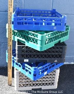Five (5) Industrial Plastic Compartment  Full-Size Glass Rack.