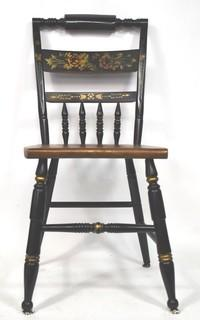 Hitchcock Black and Gilt Stenciled Dining Chair.