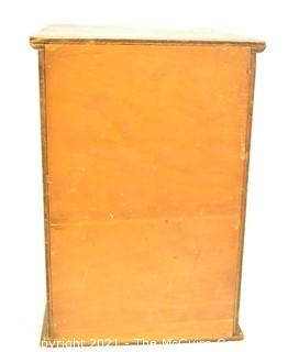 "Vintage Wood Eight Level File Box. Measures 10"" x 2"" x 14""."