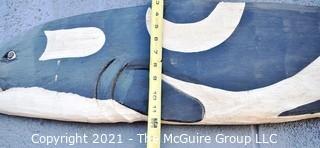 "Folk Art.  Large Wooden Hand Painted Whale Sign.  Measures 55"" x 12""  {Note: Description Altered 10.14.2021 @ 6:46pm ET}"