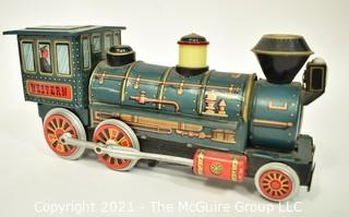 """Vintage Lithograph Trade Mark Modern Toy Tin Train Engine, Battery Operated, Measures 14"""" long."""