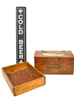 Duck Painted Armour Meat Wood Crate, Wooden Box & Cold Beer Painted Sign {Note: Description Altered 10.14.2021 @ 6:46pm ET}