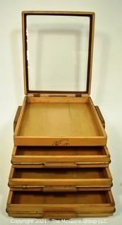 Vintage Wooden Swank Cufflink Display Case with Drawers.