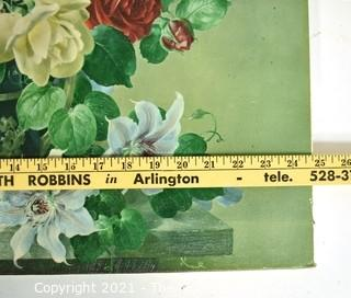 """Oil on Canvas Giclee of Flowers in Vase Still Life Signed by Artist, Harold Clayton.  Measures 22"""" x 25"""" (Note: Description Altered 10/12/21 @ 4:42pm ET)"""