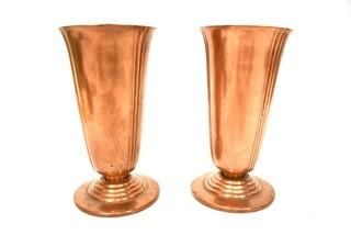 """Set of Two (2) Copper """"Minerva"""" Vases Made by Chase, Marked on Vase."""