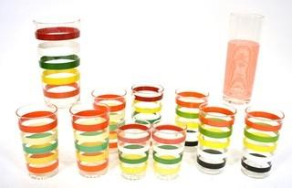 Set of (10) Mid Century Bright Stripe Glassware and Tumblers