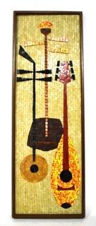 """Framed Mid-Century Modern Mosaic Tile Still Life or Painting of Instruments.  Measures 37"""" x 13""""."""