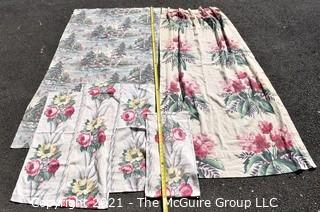 Vintage Mid Century BarkCloth Remnants and Curtains for Cutting.