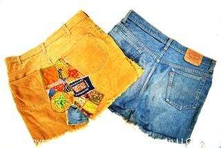 Vintage Retro Ladies Embroidered and Patched Cut Off Shorts