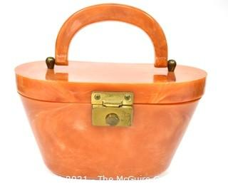 Vintage Butterscotch Color Bakelite Box Style Handbag with Latch Closure.