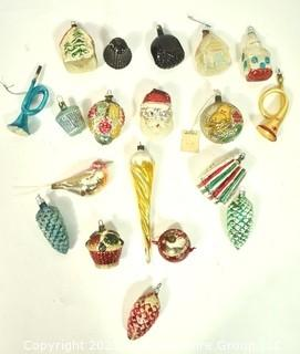 Group of Vintage Figural Hand Painted Mercury Glass Christmas Ornaments with Indents.