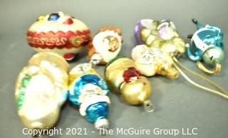 Hand Painted Mercury Glass Christmas Ornaments.  One Waterford. .