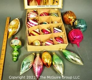 Two (2) Boxes of Vintage Hand Painted Mercury Glass Christmas Ornaments with Indents.