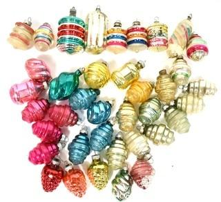Vintage Lantern Shaped  Hand Painted Mercury Glass Christmas Ornaments with Indents.