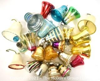 Vintage Bell Shaped Hand Painted Mercury Glass Christmas Ornaments with Indents.