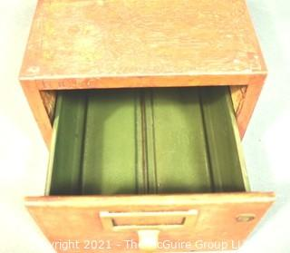 """Industrial Wooden Library Card Drawer File Box.  Measures 8"""" x 10"""" x 16"""""""