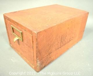 """Industrial Wooden Library Card Drawer File Box.  Made by Globe.  Measures 8"""" x 10"""" x 16"""""""