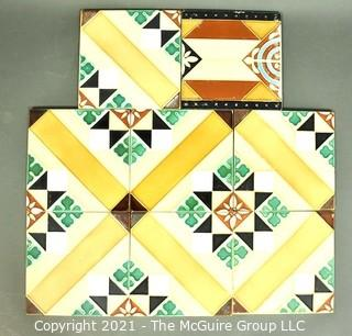 """Group of Hand Painted Textured Tiles.  Each measures 6""""x 6"""""""
